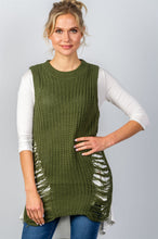 Load image into Gallery viewer, Ladies fashion round neckline sleeveless sweater knit distress sides dress - comfy-cozy18