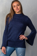 Load image into Gallery viewer, Ladies fashion mock neck solid flare sleeve knit sweater - comfy-cozy18