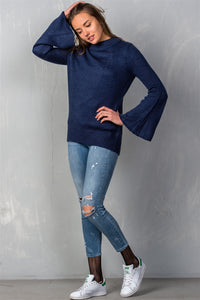 Ladies fashion mock neck solid flare sleeve knit sweater - comfy-cozy18