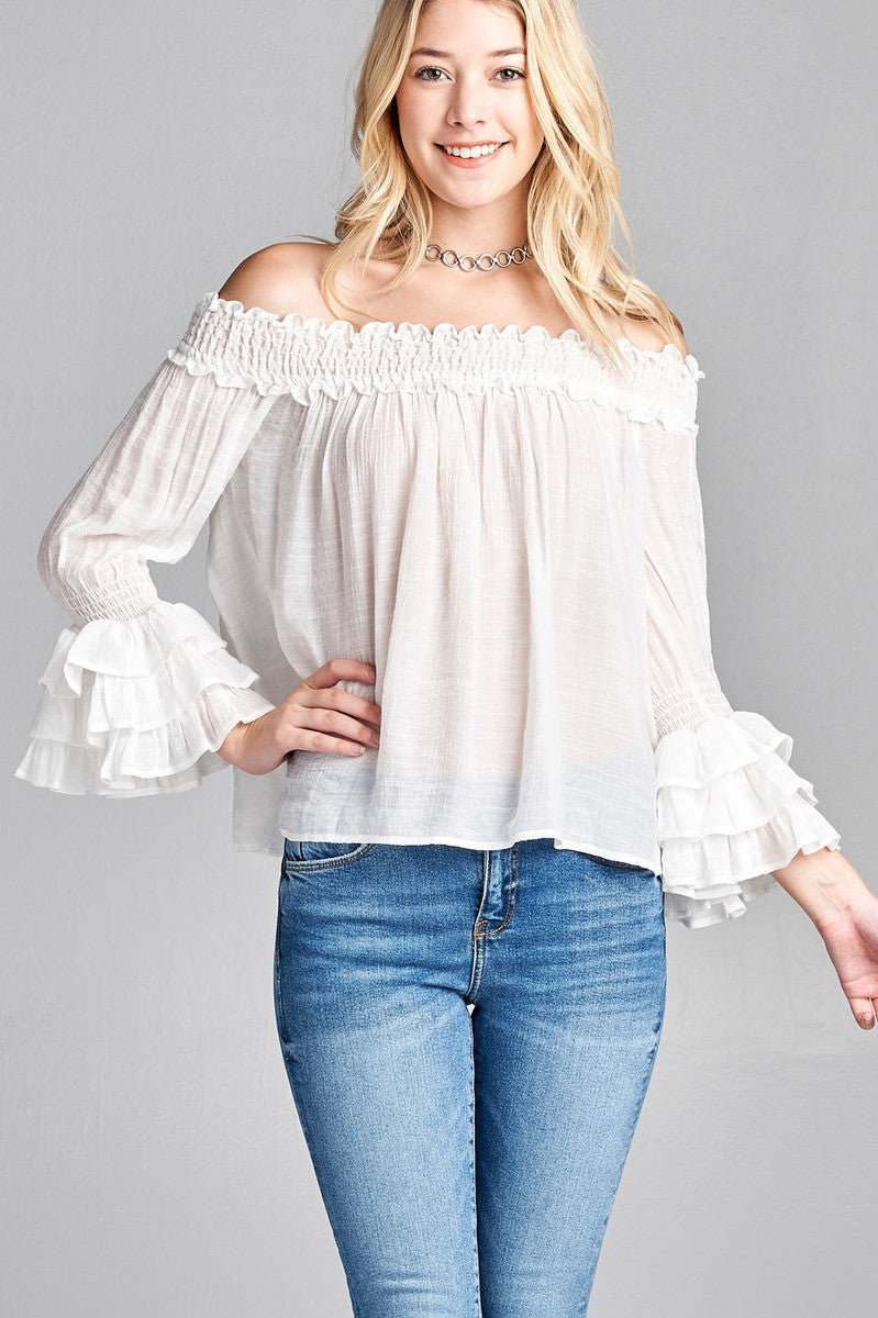 Ladies fashion long sleeve w/ruffle off the shoulder woven top - comfy-cozy18