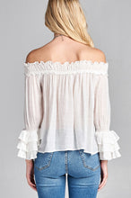 Load image into Gallery viewer, Ladies fashion long sleeve w/ruffle off the shoulder woven top - comfy-cozy18