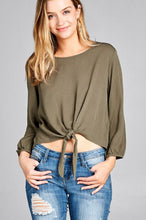 Load image into Gallery viewer, Ladies fashion long sleeve round neck front bow tie crinkle gauze woven top - comfy-cozy18