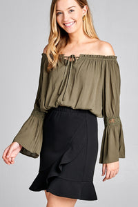 Ladies fashion long sleeve w/lace trim off the shoulder self tie front crinkle gauze woven top - comfy-cozy18