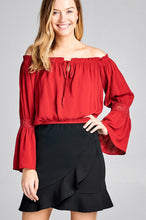 Load image into Gallery viewer, Ladies fashion long sleeve w/lace trim off the shoulder self tie front crinkle gauze woven top - comfy-cozy18