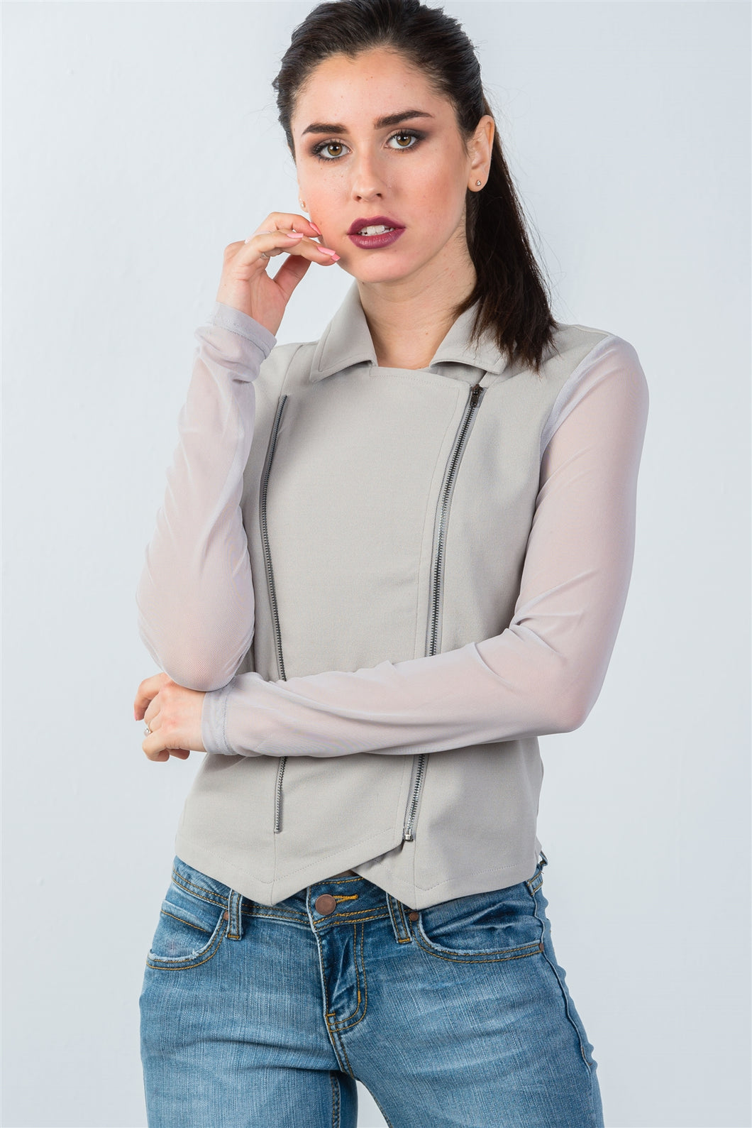 Ladies fashion grey mesh long sleeve double zipper front jacket - comfy-cozy18