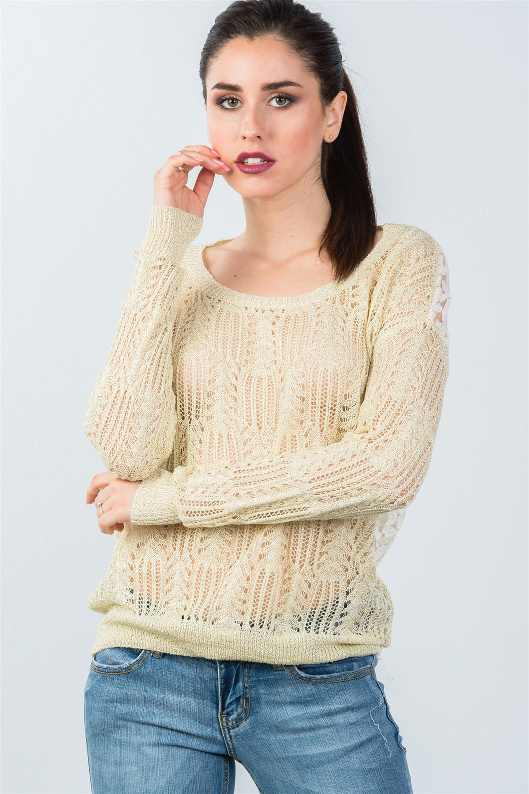 Ladies fashion beige crochet & flower embroidered mesh top - comfy-cozy18