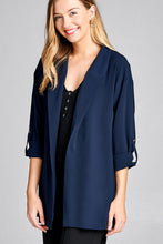 Load image into Gallery viewer, Ladies fashion 3/4 roll up sleeve open front woven jacket - comfy-cozy18