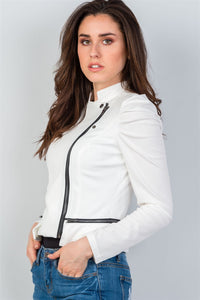 Ladies fashion side zipper closure gathered shoulders jacket - comfy-cozy18