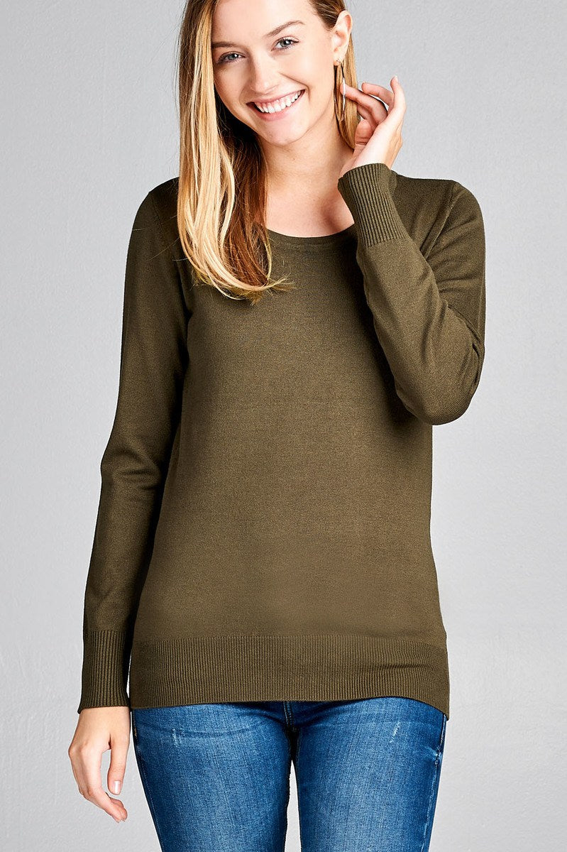 Ladies fashion long sleeve crew neck classic sweater - comfy-cozy18