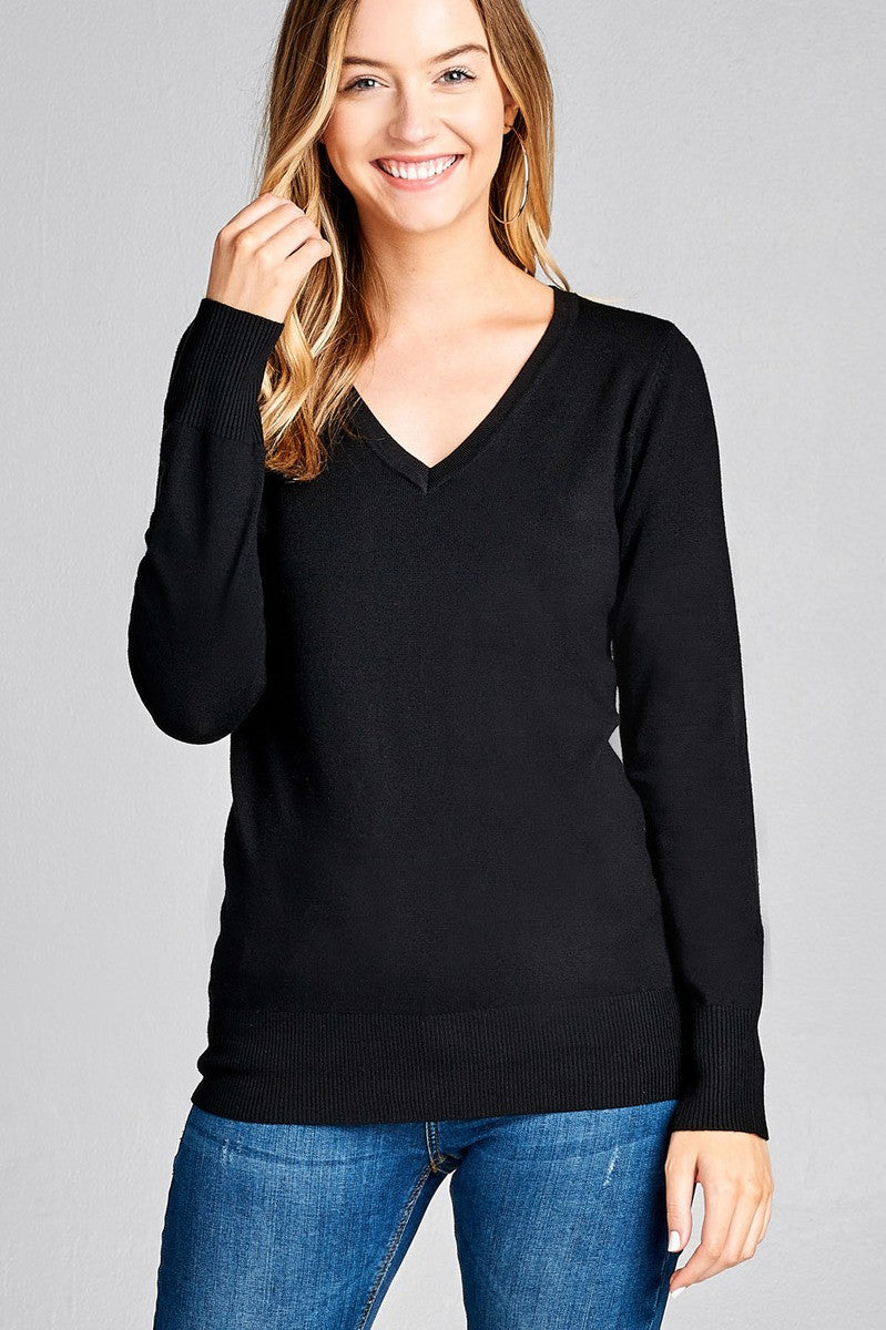 Ladies fashion long sleeve v-neck classic sweater - comfy-cozy18