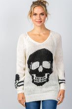 Load image into Gallery viewer, Ladies fashion contrast skull printed pullover sweater - comfy-cozy18