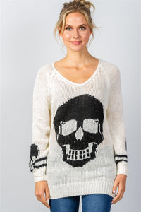 Ladies fashion contrast skull printed pullover sweater - comfy-cozy18