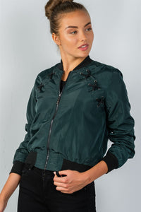 Ladies fashion front zipper closure sides lace-up bomber jacket - comfy-cozy18