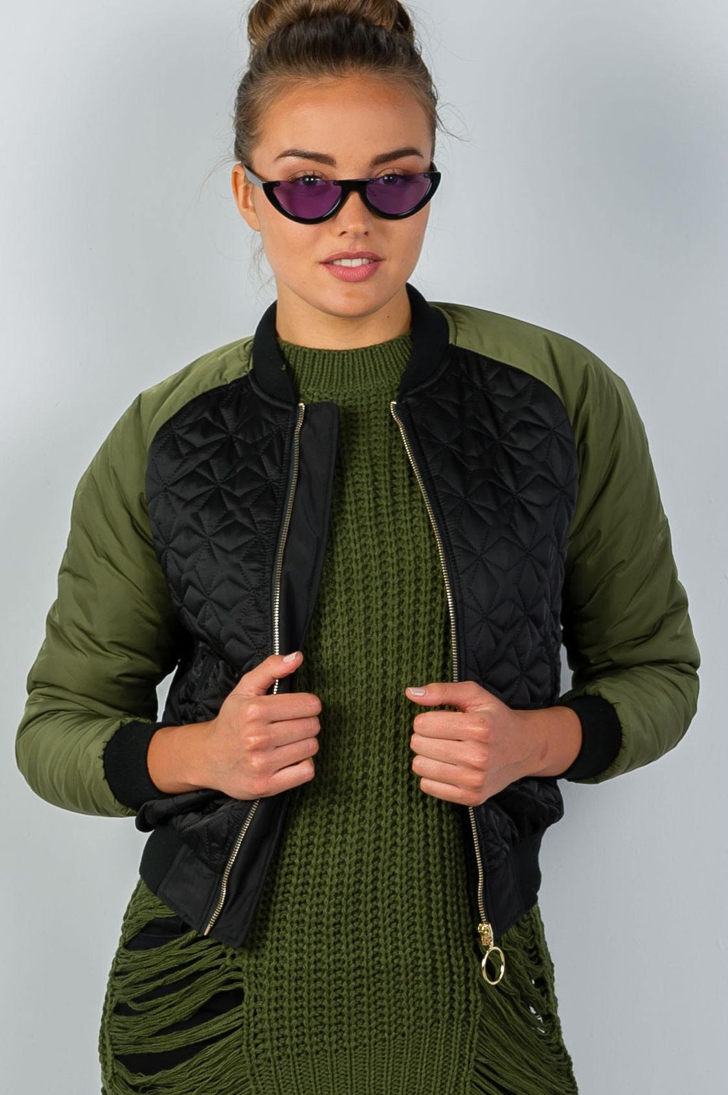 Ladies fashion black & olive quilted bomber jacket - comfy-cozy18