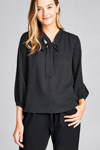 Ladies fashion 3/4 sleeve self bow tie neck back keyhole dot print woven top - comfy-cozy18