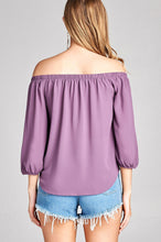 Load image into Gallery viewer, Ladies fashion 3/4 sleeve off the shoulder front self-tie crepe woven top - comfy-cozy18