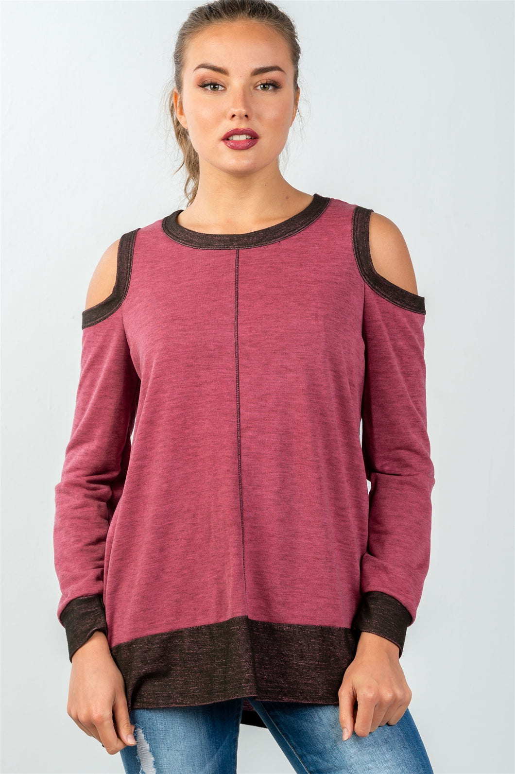Ladies fashion cold shoulder hi-low colorblock sweatshirt - comfy-cozy18