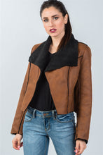 Load image into Gallery viewer, Ladies fashion relaxed fit faux sheepskin drape neck jacket - comfy-cozy18