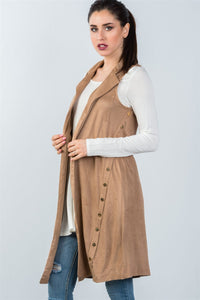 Ladies fashion knee length  sleeveless open front cardigan vest - comfy-cozy18