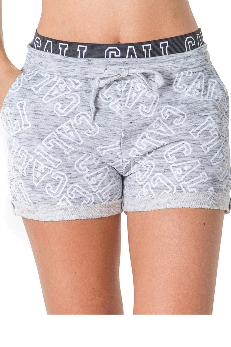 Ladies fashion french terry drawstring cuffed shorts with applique - comfy-cozy18
