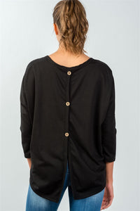Ladies fashion black button up back long sleeve sweater - comfy-cozy18