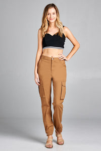 Ladies fashion waist button elastic hem w/snap button cargo pants - comfy-cozy18