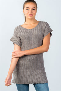 Ladies fashion scoop neckline short-sleeve open knit sweater - comfy-cozy18