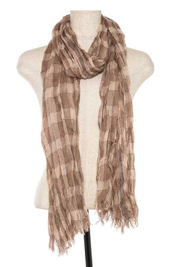 Squared pattern fringe end oblong scarf - comfy-cozy18