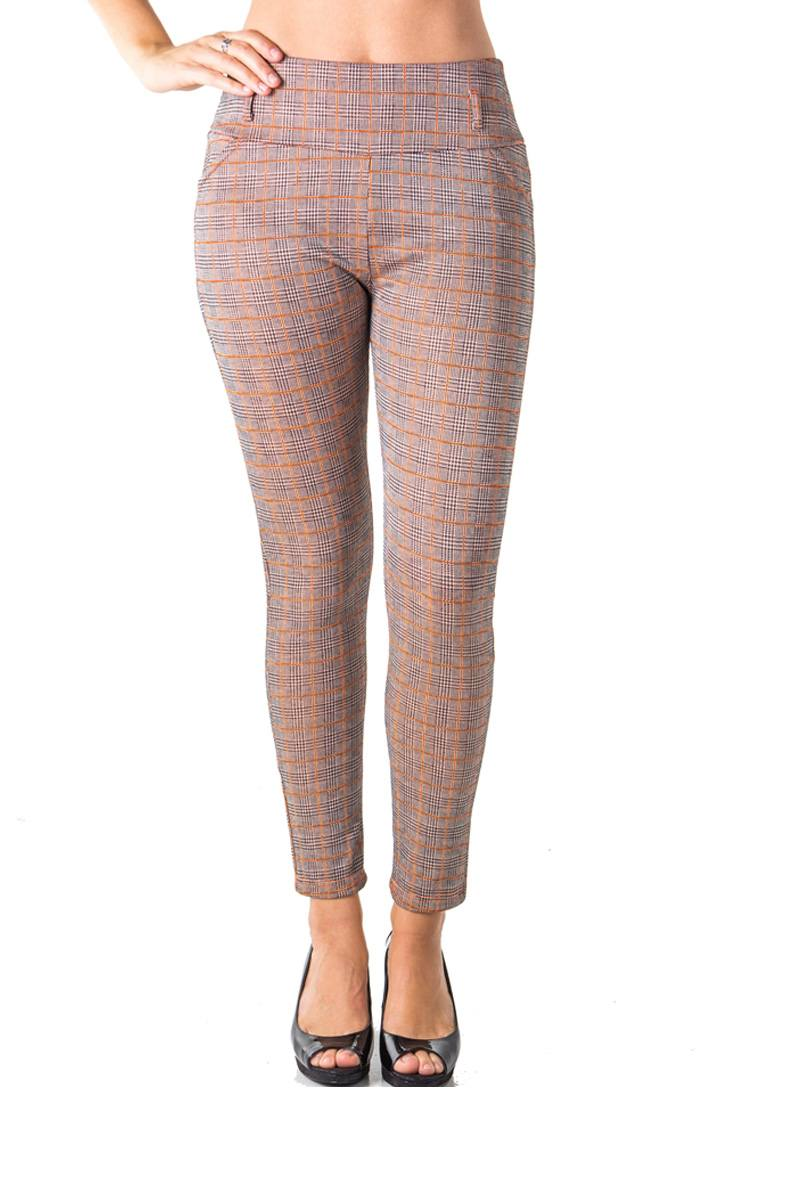 Ladies fashion casual plaid stretch trouser pants - comfy-cozy18