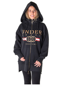 Ladies fashion fleece zip up sweatshirt oversize long hoodie outerwear jacket with applique - comfy-cozy18