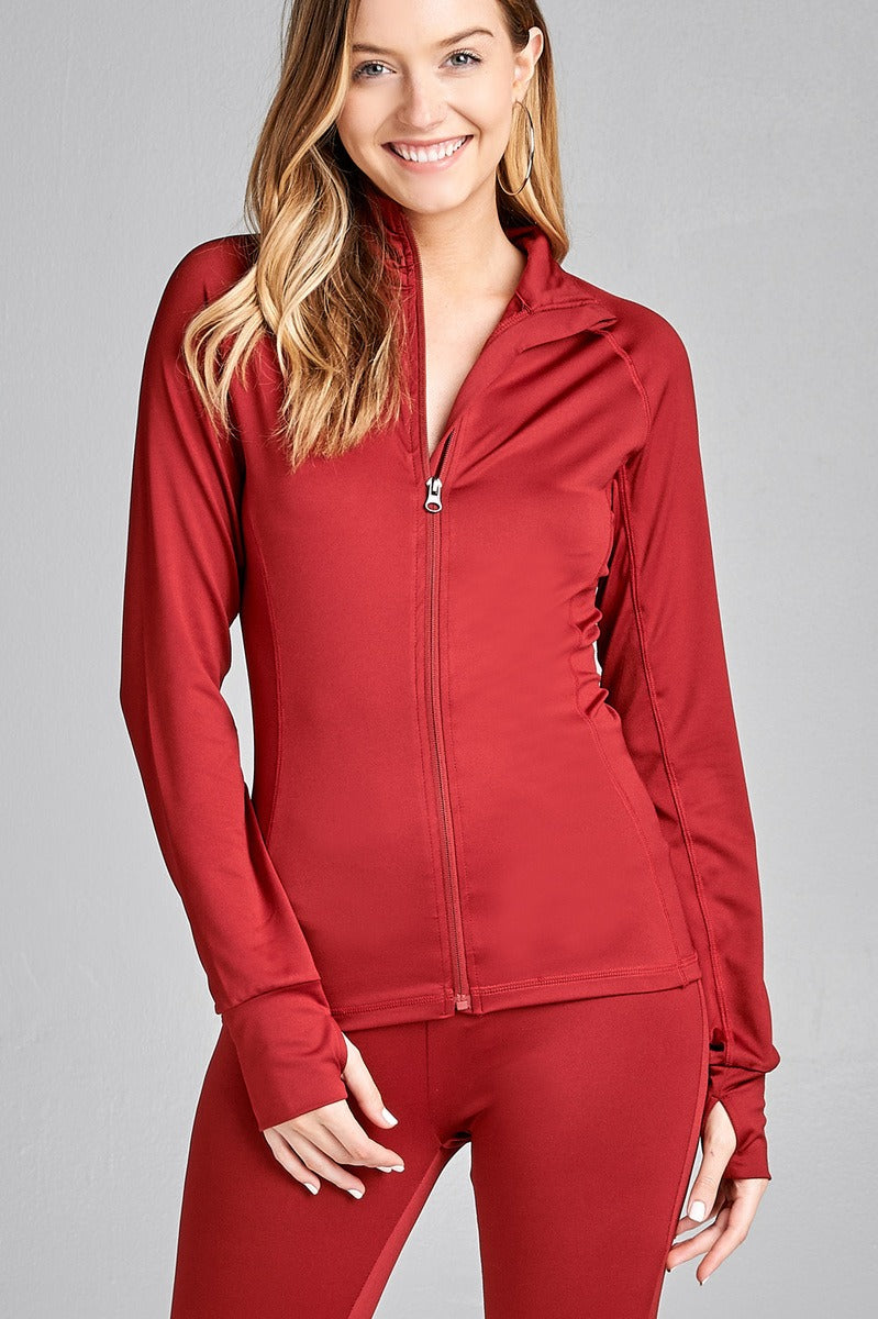 Ladies fashion solid track jacket - comfy-cozy18