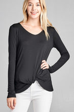Load image into Gallery viewer, Ladies fashion long sleeve v-neck front twisted rayon spandex crepe top - comfy-cozy18