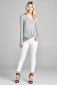 Ladies fashion long sleeve v-neck front twisted rayon spandex crepe top - comfy-cozy18