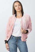 Load image into Gallery viewer, Ladies fashion contrast cuffs velvet bomber jacket - comfy-cozy18
