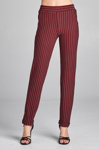 Ladies fashion waist elastic w/pocket striped knit pants - comfy-cozy18