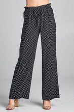Load image into Gallery viewer, Ladies fashion self ribbon detail long wide leg dot print woven pants - comfy-cozy18