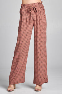 Ladies fashion self ribbon detail long wide leg dot print woven pants - comfy-cozy18
