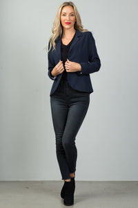 Ladies fashion navy open front blazer - comfy-cozy18