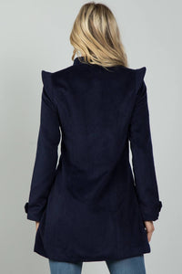 Ladies fashion navy pointed shoulder detail long coat - comfy-cozy18