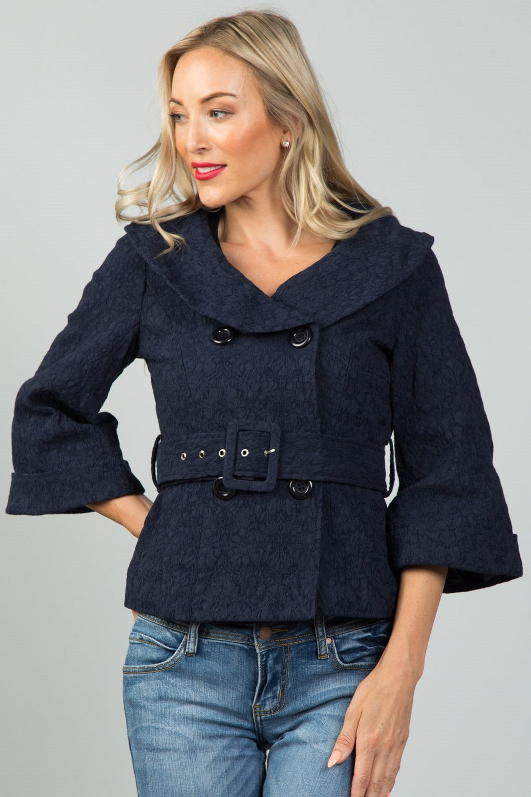 Ladies fashion textured double breasted jacket - comfy-cozy18