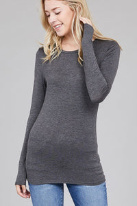 Ladies fashion long sleeve crew neck top rayon spandex jersey top - comfy-cozy18