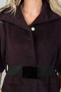 Ladies fashion wine fluffy belted 3/4 sleeves jacket - comfy-cozy18