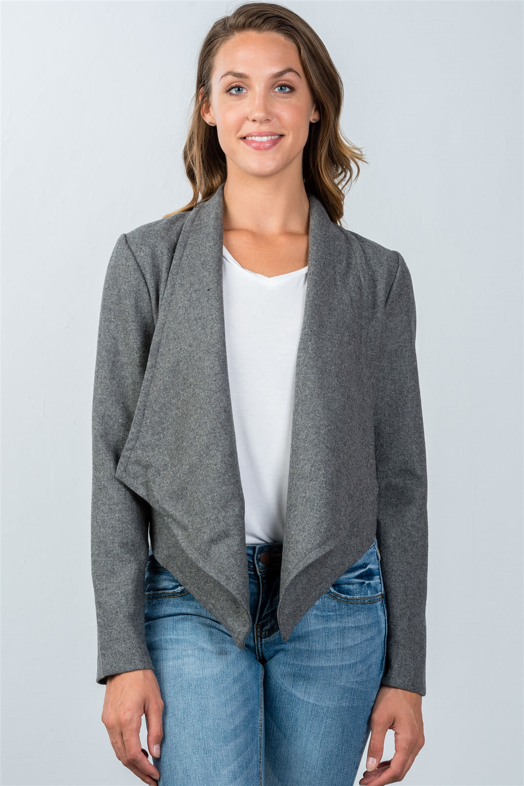 Ladies fashion charcoal irregular hem open front cardigan - comfy-cozy18