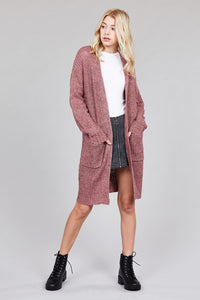 Ladies fashion dolmen sleeve open front w/patch pocket marled sweater cardigan - comfy-cozy18