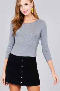Ladies fashion 3/4 sleeve boat neck rib cotton spandex knit crop top - comfy-cozy18