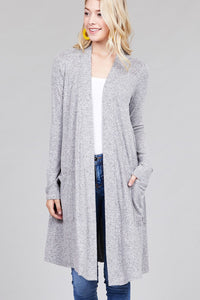 Open front Cardigan w/pocket brushed hacci - comfy-cozy18