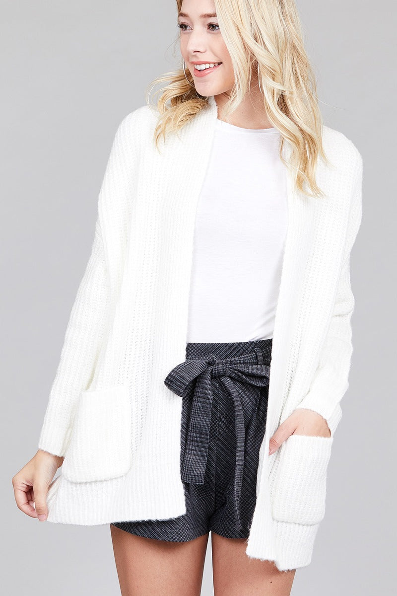Ladies fashion dolmen sleeve open front surplice back construction sweater cardigan - comfy-cozy18