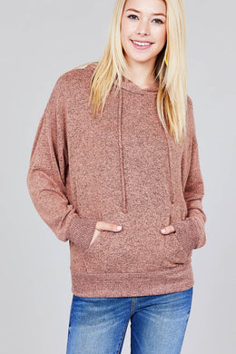 Ladies fashion long sleeve hoodie w/drawstring brushed hacci knit top - comfy-cozy18