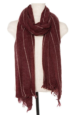 Oblong scarf line pattern fringe trim - comfy-cozy18
