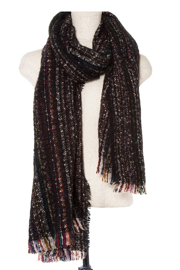 Multi color striped oblong scarf - comfy-cozy18